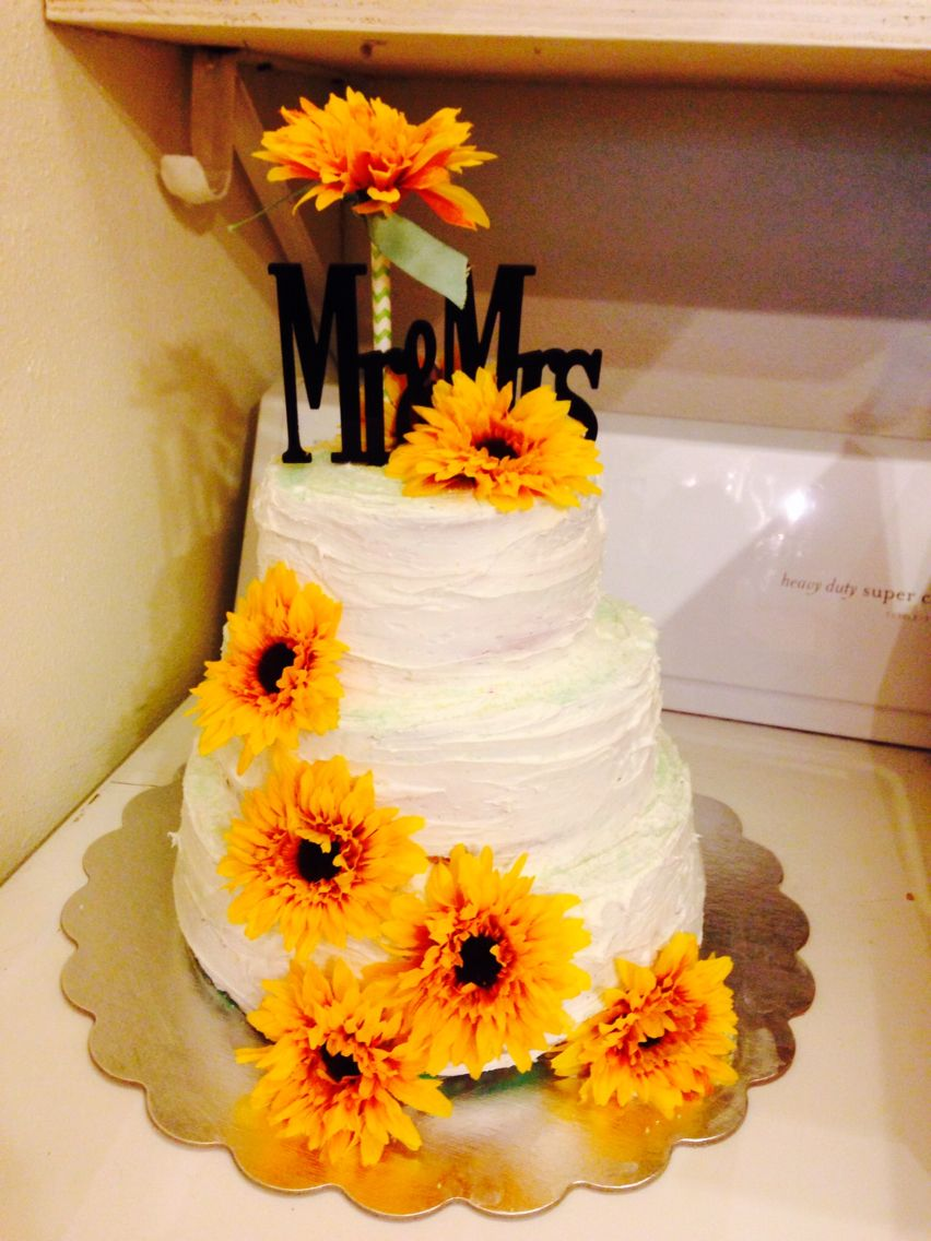 3 tier cake I made with 3 flavored box mixes and a