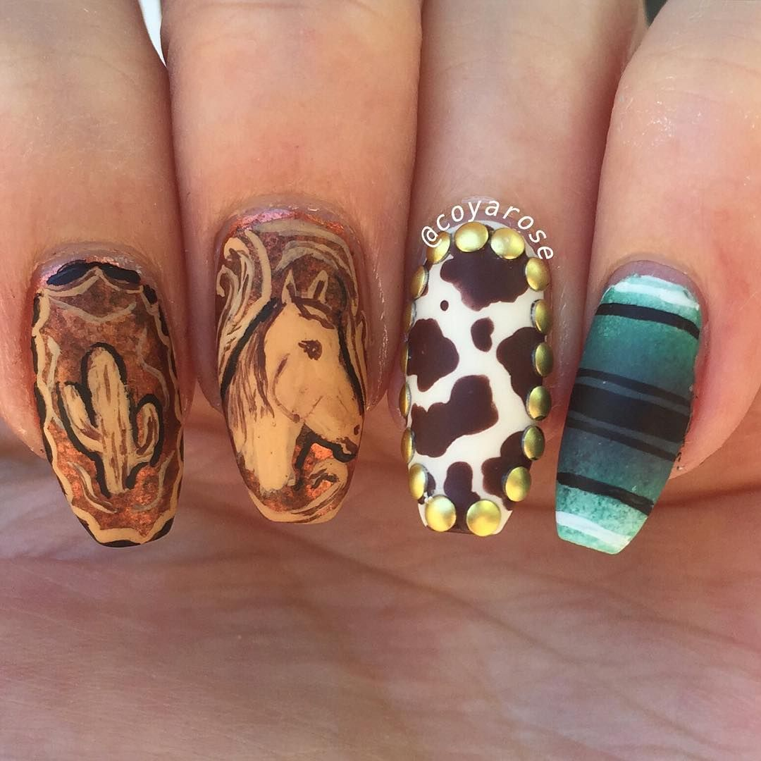 Hand painted Western nails | Nail Art by @coyarose | Pinterest ...