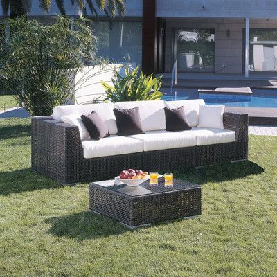 hospitality rattan soho 3 piece deep seating group with cushions rh pinterest com