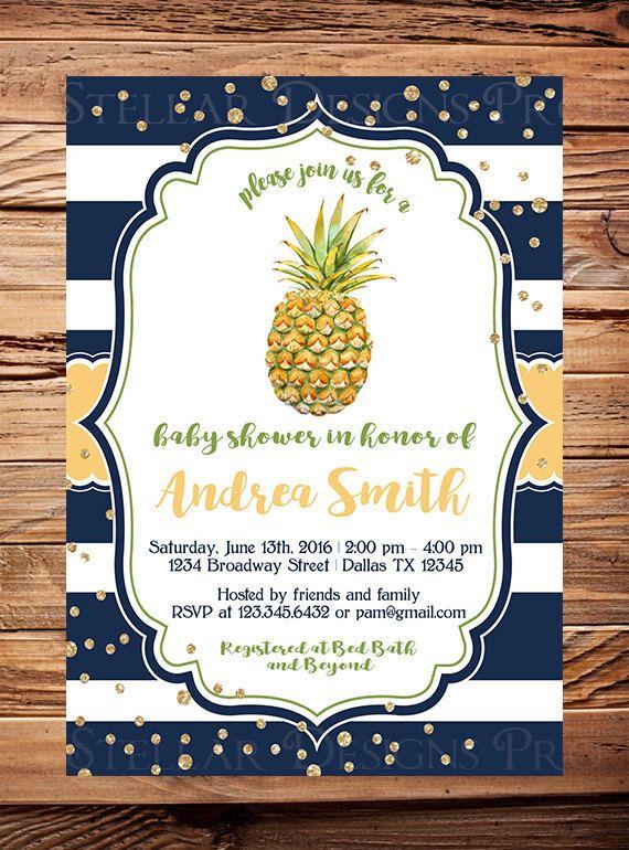 pineapple invitation, pineapple baby shower invitation, pineapple, Baby shower invitations