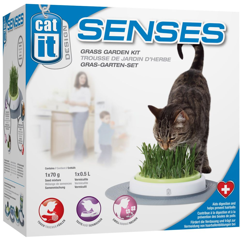 The Catit Senses Grass Garden Kit Gives You The Means To Grow A Controlled Amount Of Grass Indoors For Your Cat To Nibble On In 2020 Garden Kits Grasses Garden Grass