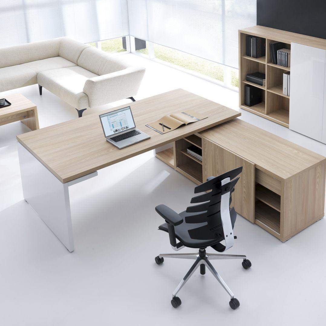 Escritorio de director moderno de chapa de madera for Escritorios de oficina