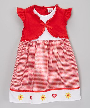 Another great find on #zulily! Red Gingham Seersucker Dress & Cape - Toddler & Girls by Real Love #zulilyfinds