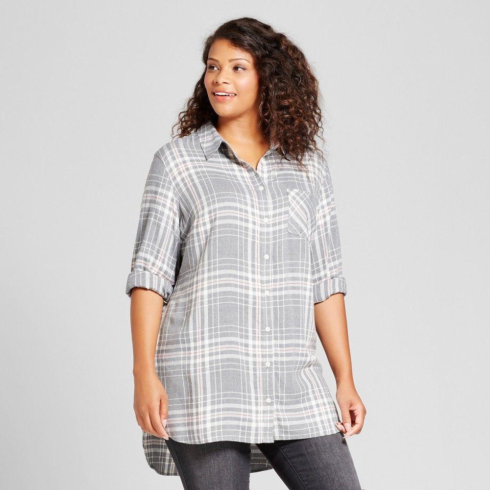 de928a9f6c815 Women s Plus Size Long Sleeve Flannel Button Down Tunic - Ava   Viv Gray  Plaid