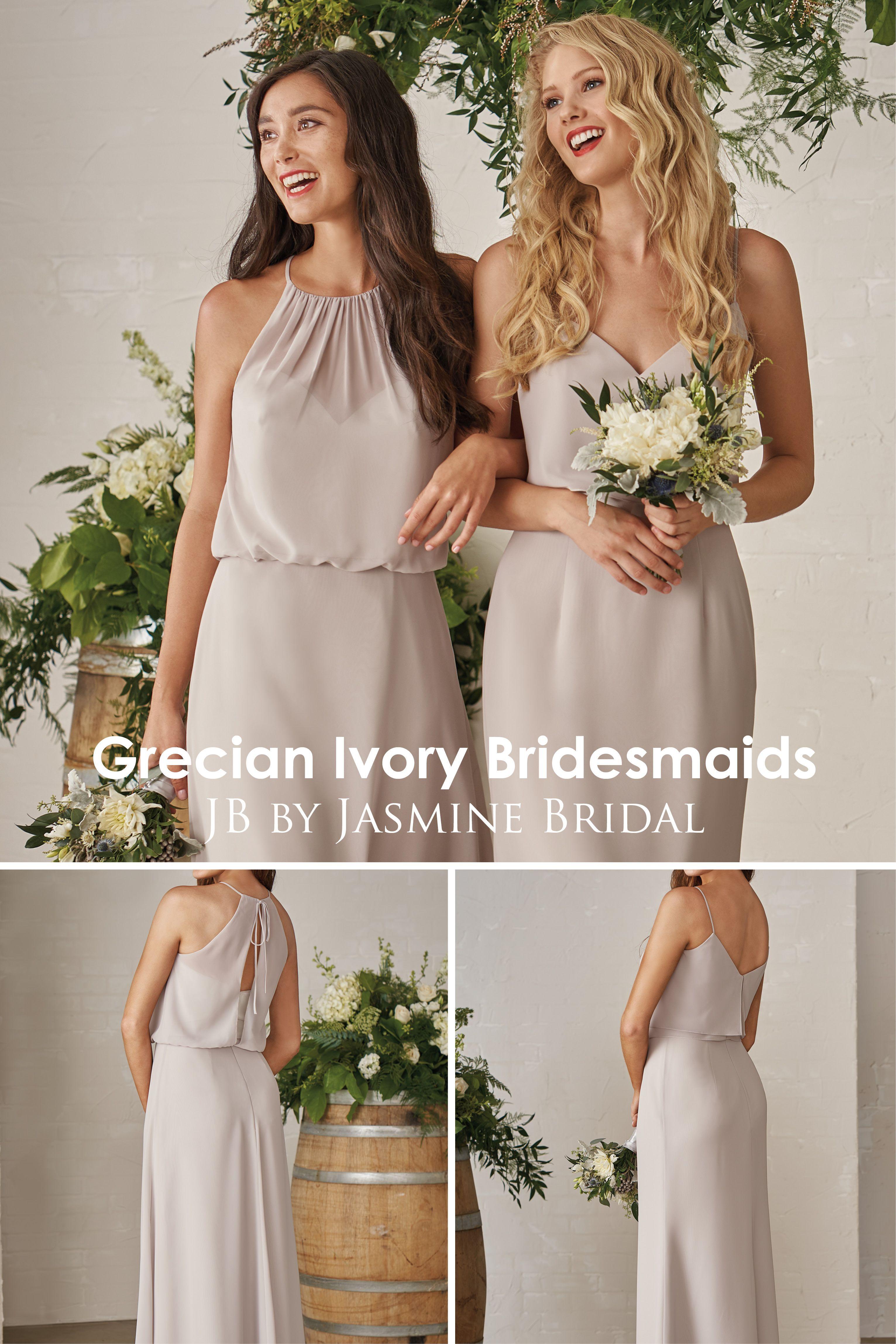 Jasmine Bridal Jb Grecian Ivory Bridesmaids Neutral Bridal Party Simple Bridesmai Grecian Wedding Dress Ivory Bridesmaid Dresses Grecian Bridesmaid Dress