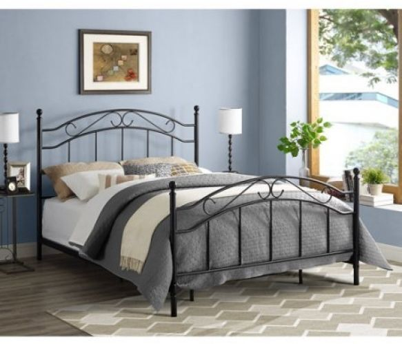 Queen Size Bed Frame Metal Headboard Footboard Modern Bedroom