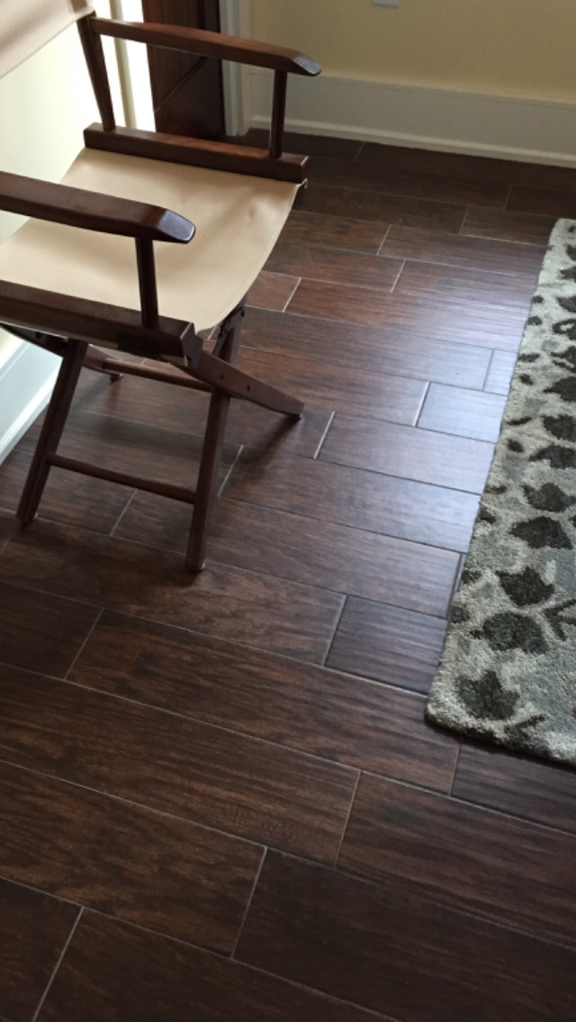 Shaw porcelain wood look tile petrified hickory in fossil for Shaw flooring