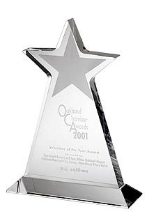 Star Shaped Lucite Gifts. Largest manufacturer of promotional acrylic awards personalized with logos and copy as advertising giveaways.