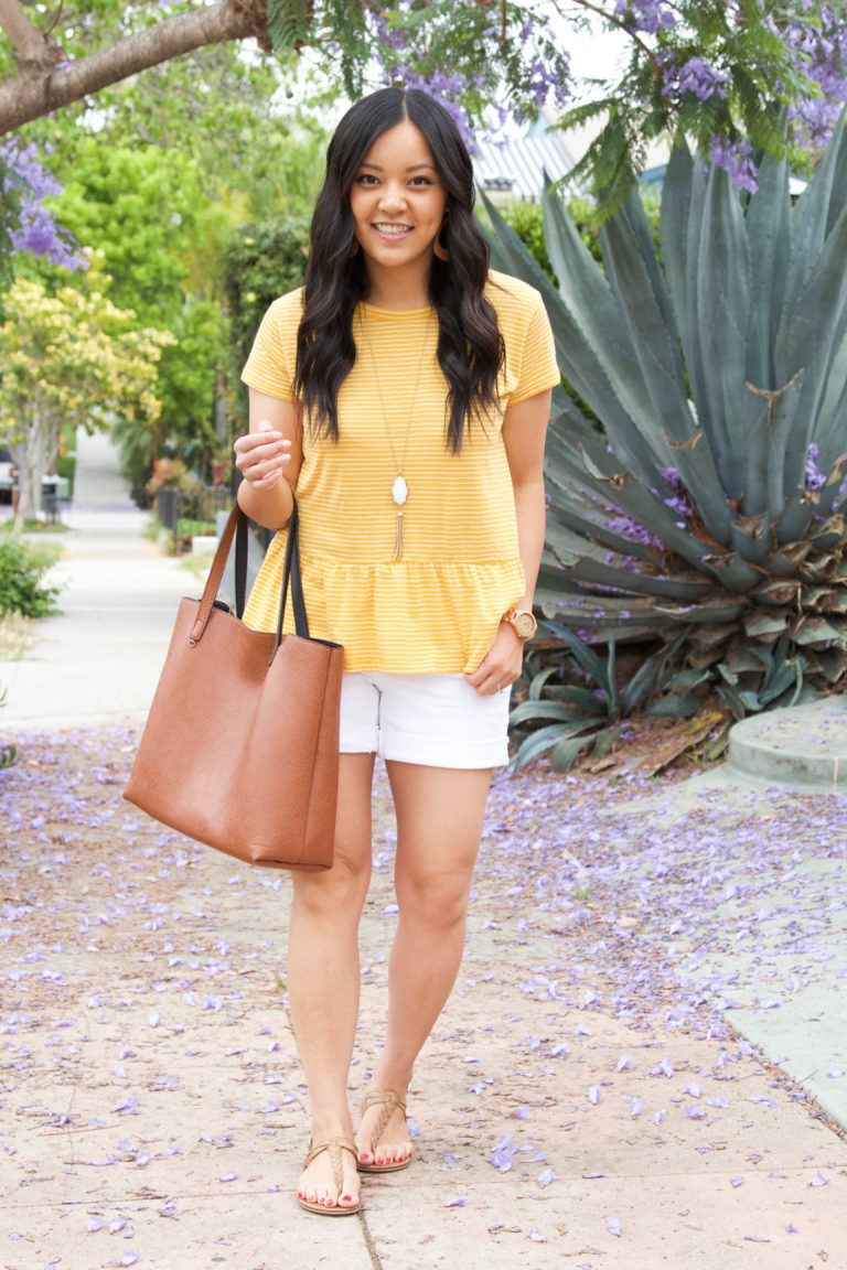 e20a0088492 Yellow Peplum Top and White Shorts Summer Casual Outfit