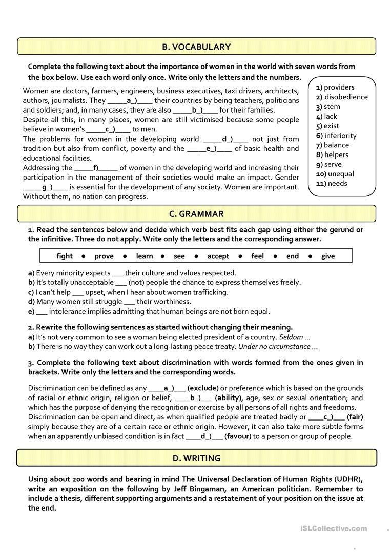 Worksheets For 12th Grade : Human rights b c test th grade worksheet free esl