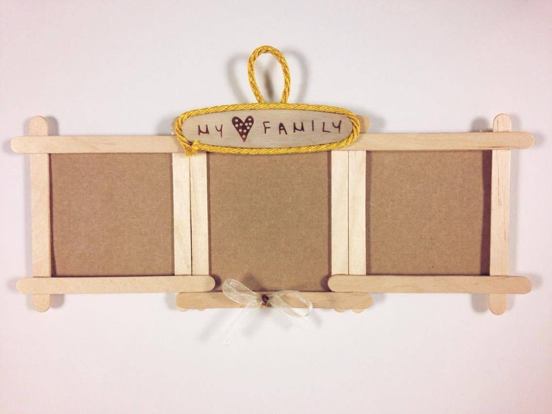 Cornice assemblata con cartoncino ondulato e palettine di legno, un simpatico regalo per la festa della mamma! minicorsi bambini 2016