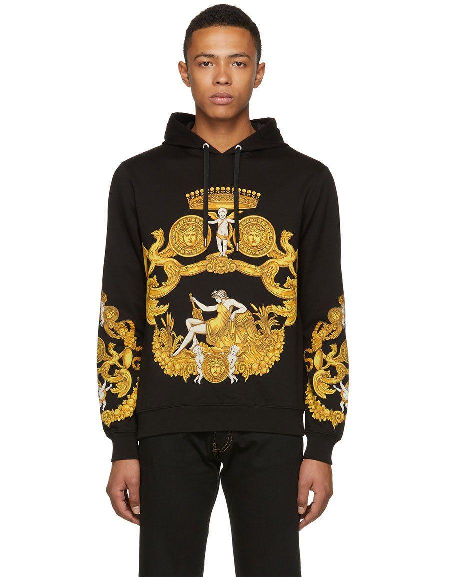 fb2052105 h3>VERSACE</h3> Black & Gold Angels Hoodie | Men Clothing | Hoodies ...