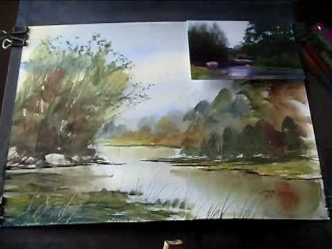 Watercolor Landscape Painting Village Nature Scenery Landscape