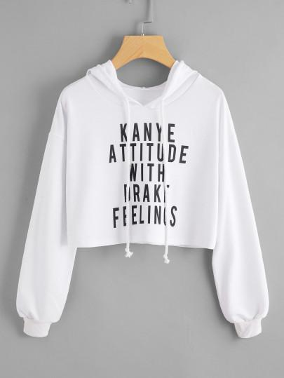 3a6131e6d Kanye attitude with drake feeling pullover crop hoodie sweater ...