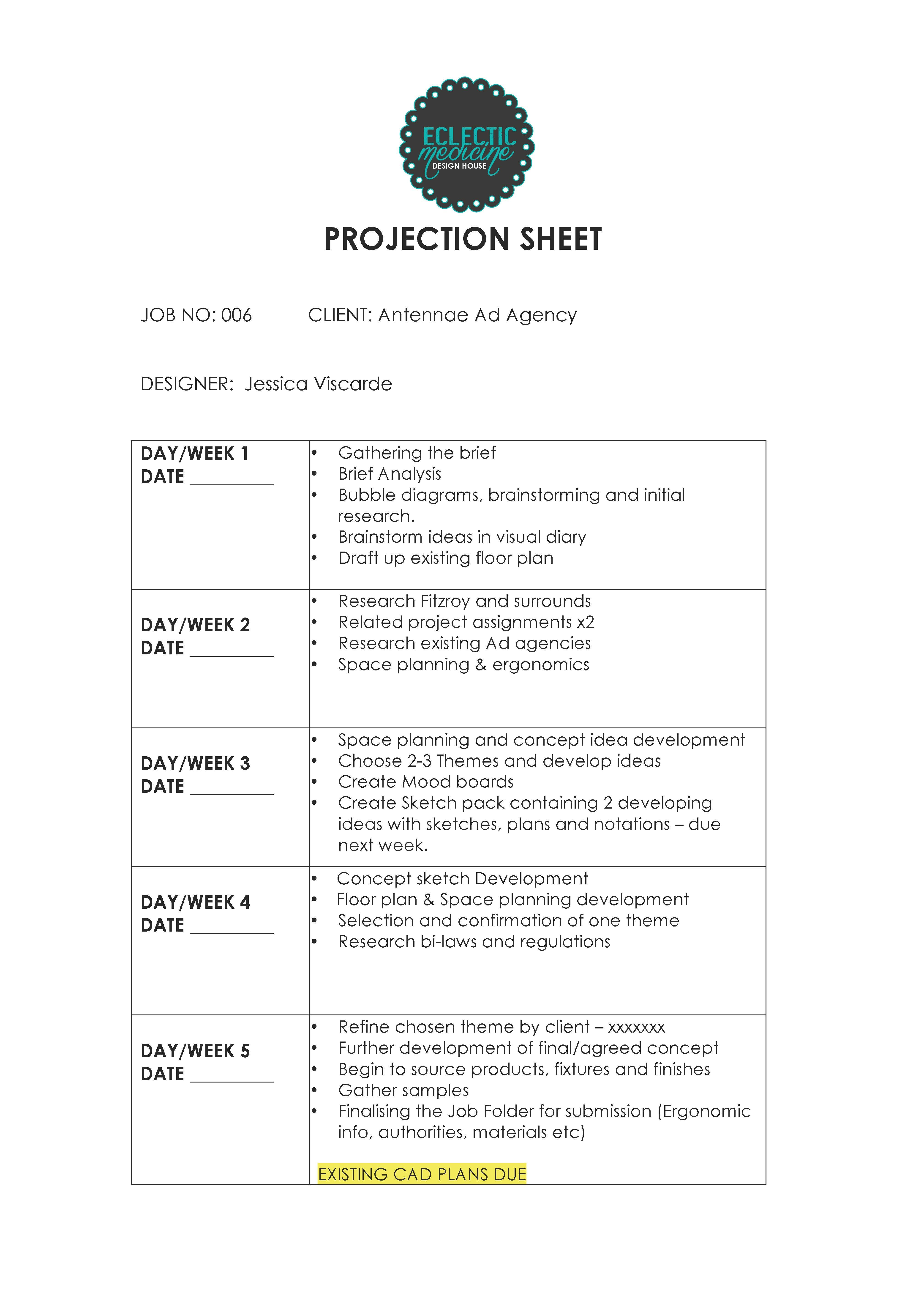 Interior Designers How To Write A Projection Sheet