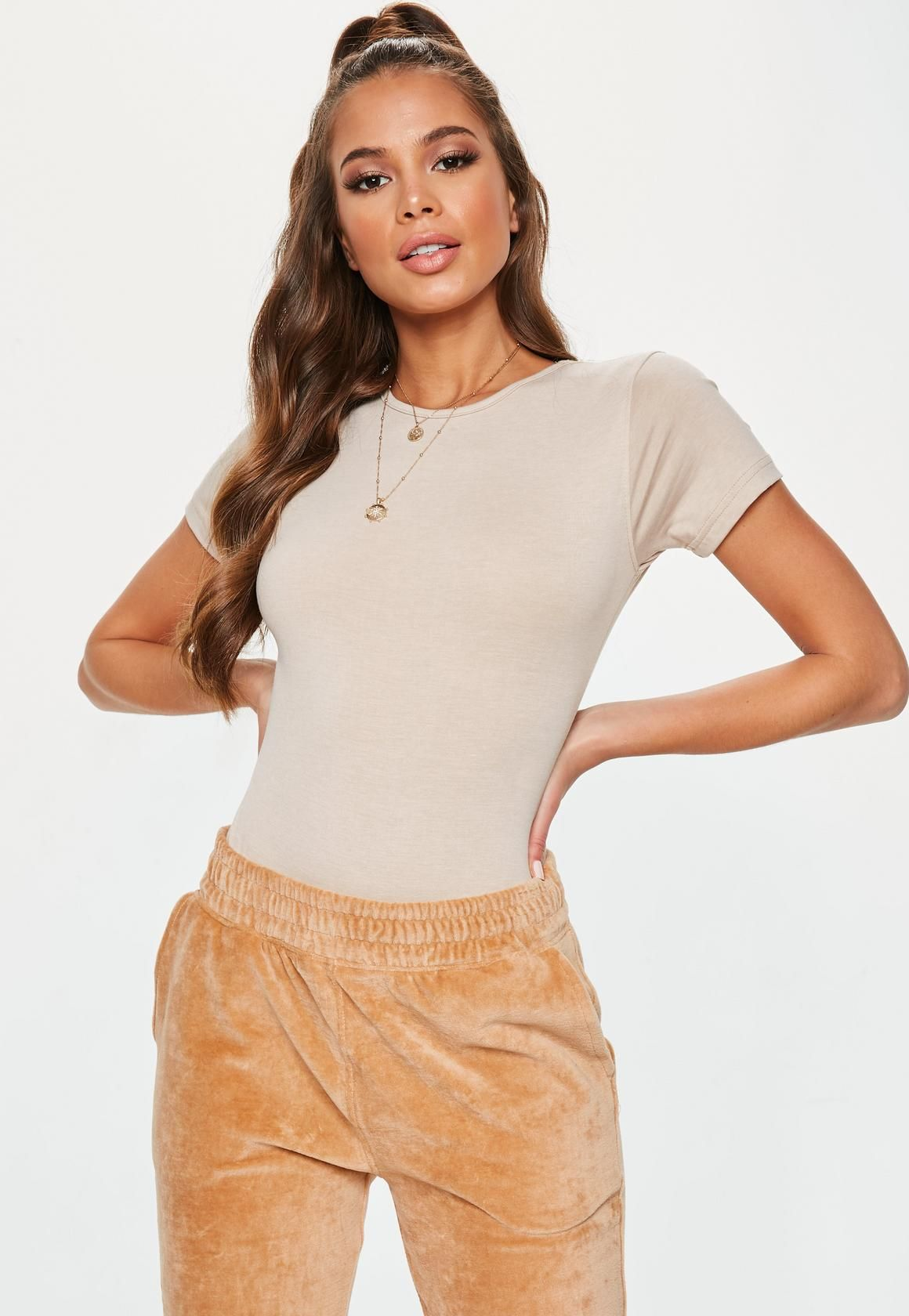 aabab10d873e9 Missguided - Nude Crew Neck Bodysuit