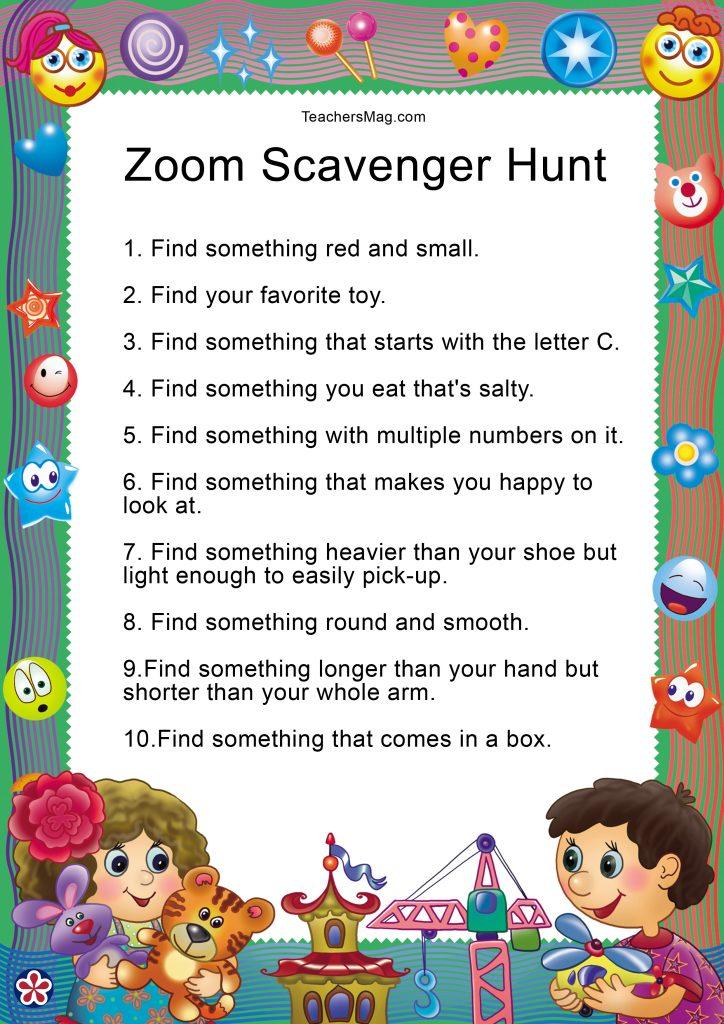 Zoom Scavenger Hunt to Do With Preschoolers Women