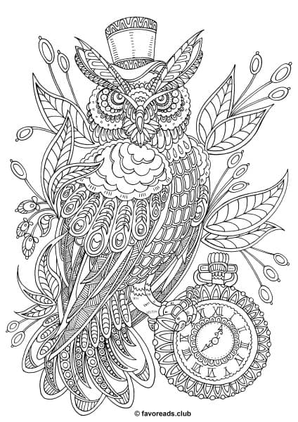 Fantasia   Steampunk Owl is part of Printable adult coloring pages - Let us introduce an owlfashionista  It certainly knows how to be cool  Check out its new steampunk look