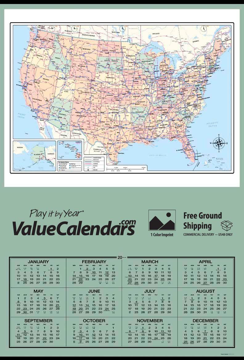 2017 Jumbo Span a Year USA Map Calendar