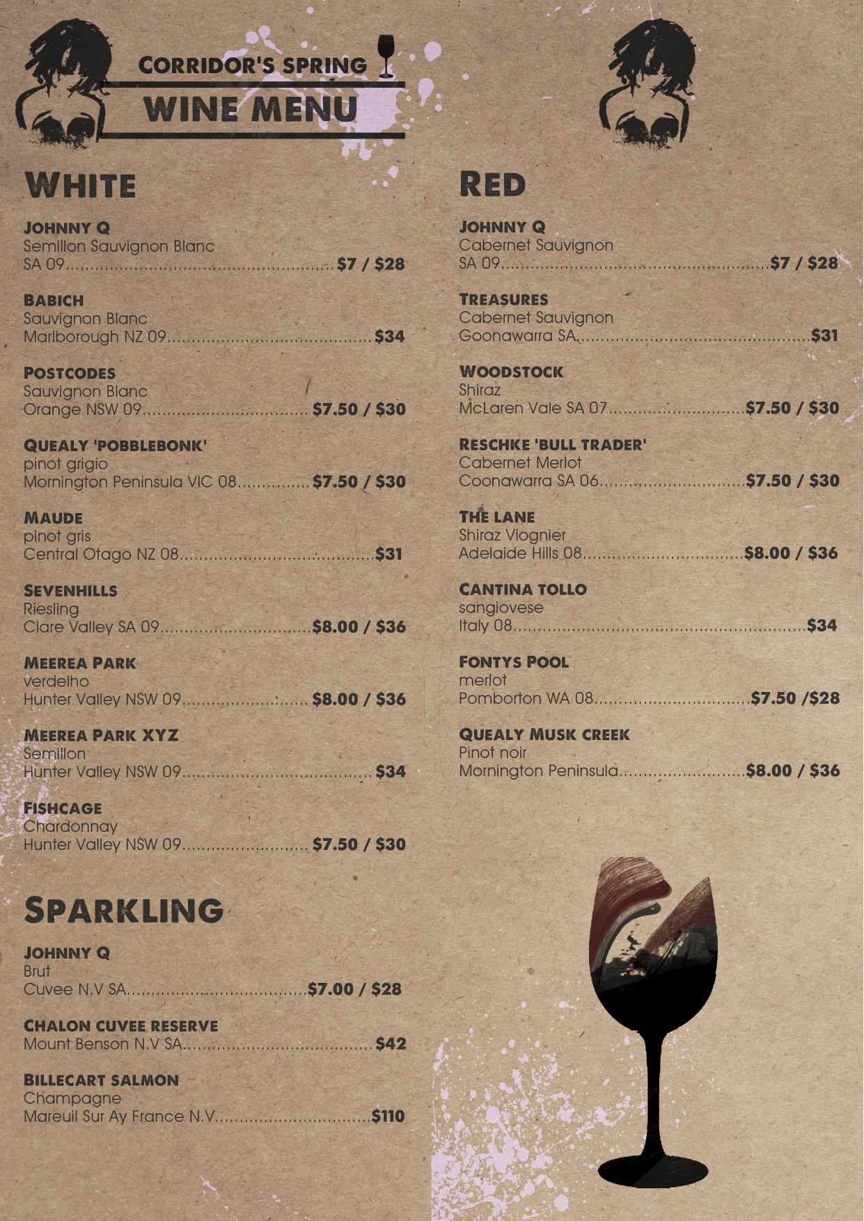 Corridor Wine Menu Front And Back  Graphics