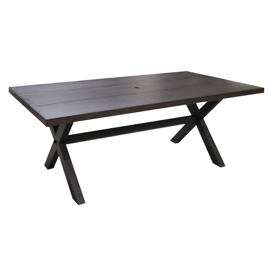 Allen Roth Atworth 42 In W X 76 L Rectangle Aluminum Dining Table