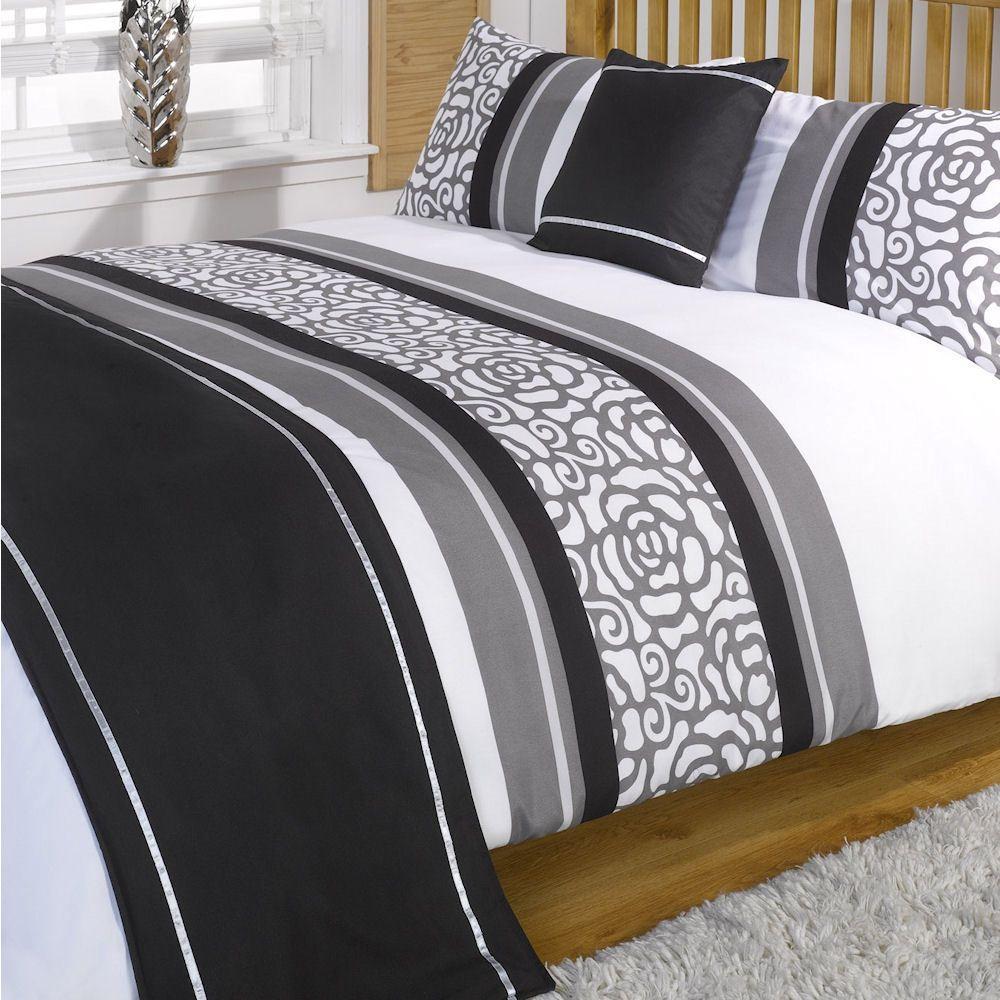 Set cama lorenza negro gris blanco estampado en bolsa for Colcha blanca cama 150