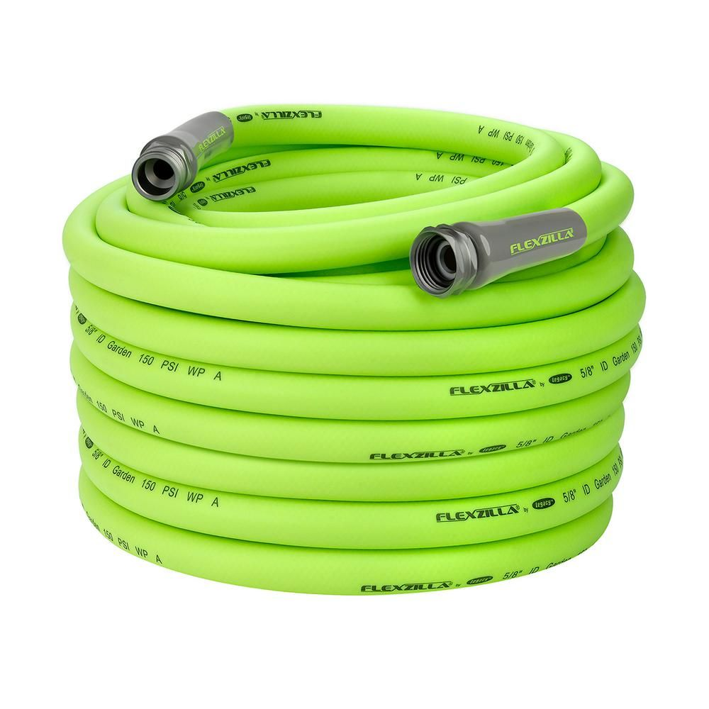 Flexzilla 5 8 In X 100 Ft Zillagreen Garden Hose With 3 4 In Ght Fittings Hfzg5100yw E The Home Depot Garden Hose Hose Hose Reel