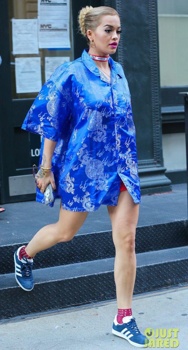 Rita Ora in the adidas Gazelle Blue/White