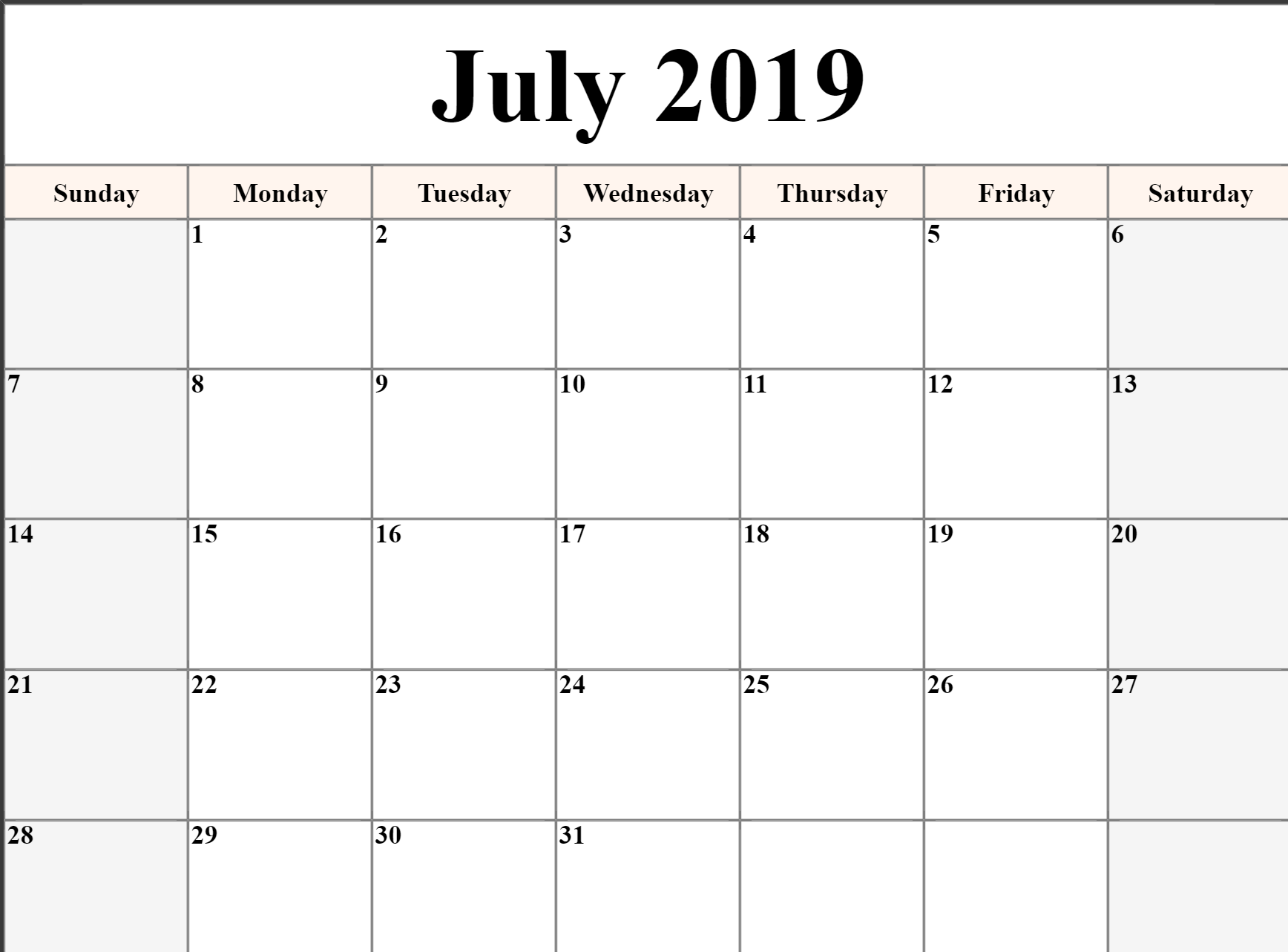 Editable July 2019 Calendar Blank Template Printable Word