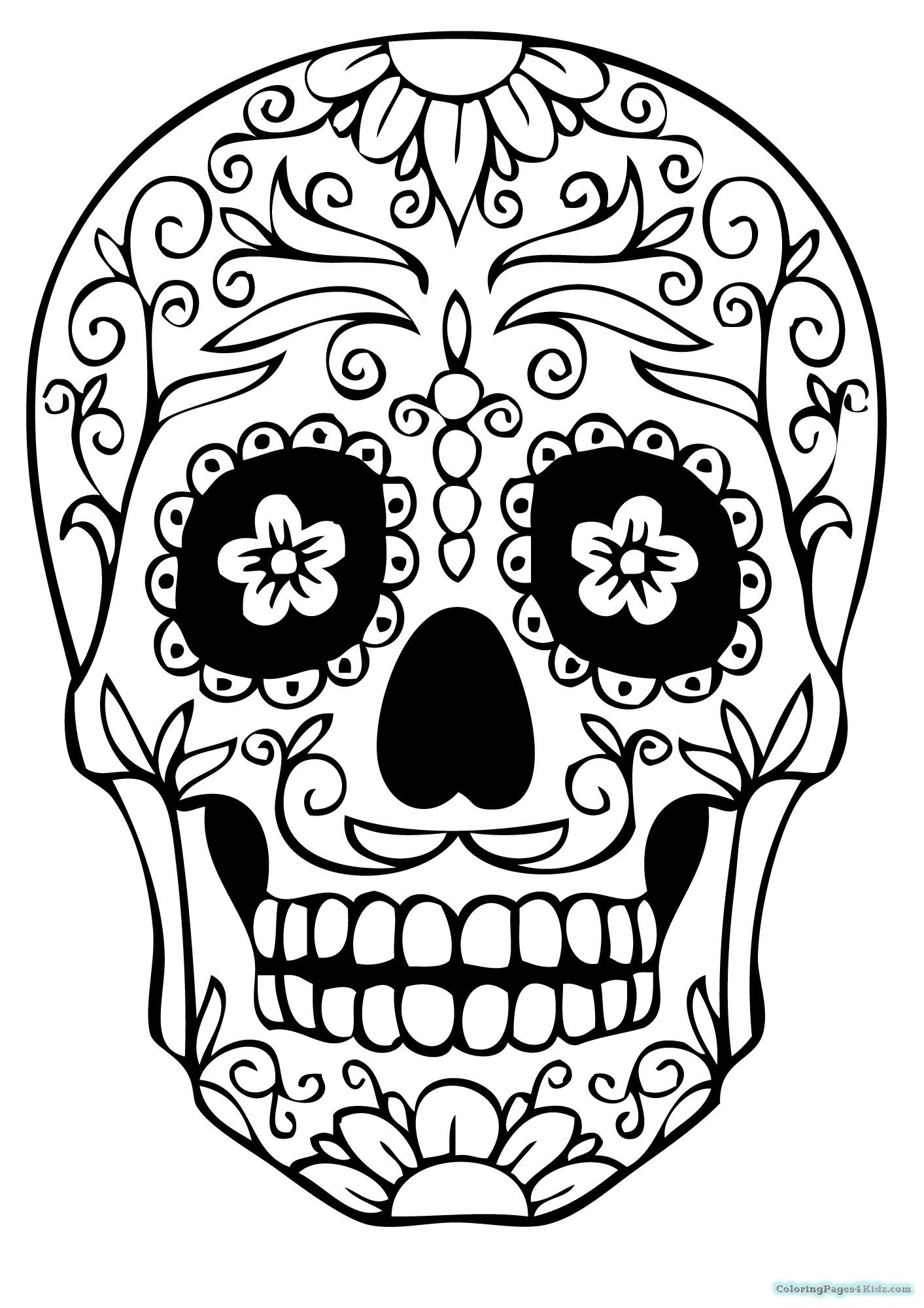 Day Of The Dead Skull Drawing Easy : skull, drawing, Sugar, Skull, Template, Drawing, Documents, Download, Extra, Large, Print, Coloring, Pages,, Drawing,