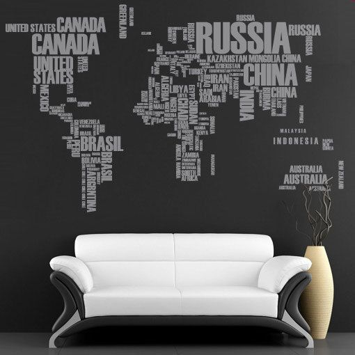 Editors picks wall decals stencils and wallpaper wall decals decal world map with country names gumiabroncs Gallery