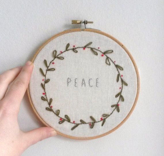 Embroidery hoop wall art floral wreath christmas decor