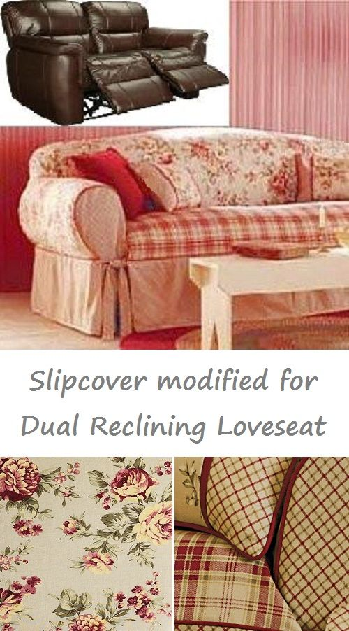 dual reclining loveseat slipcover shabby toile red sure fit cover in rh pinterest com