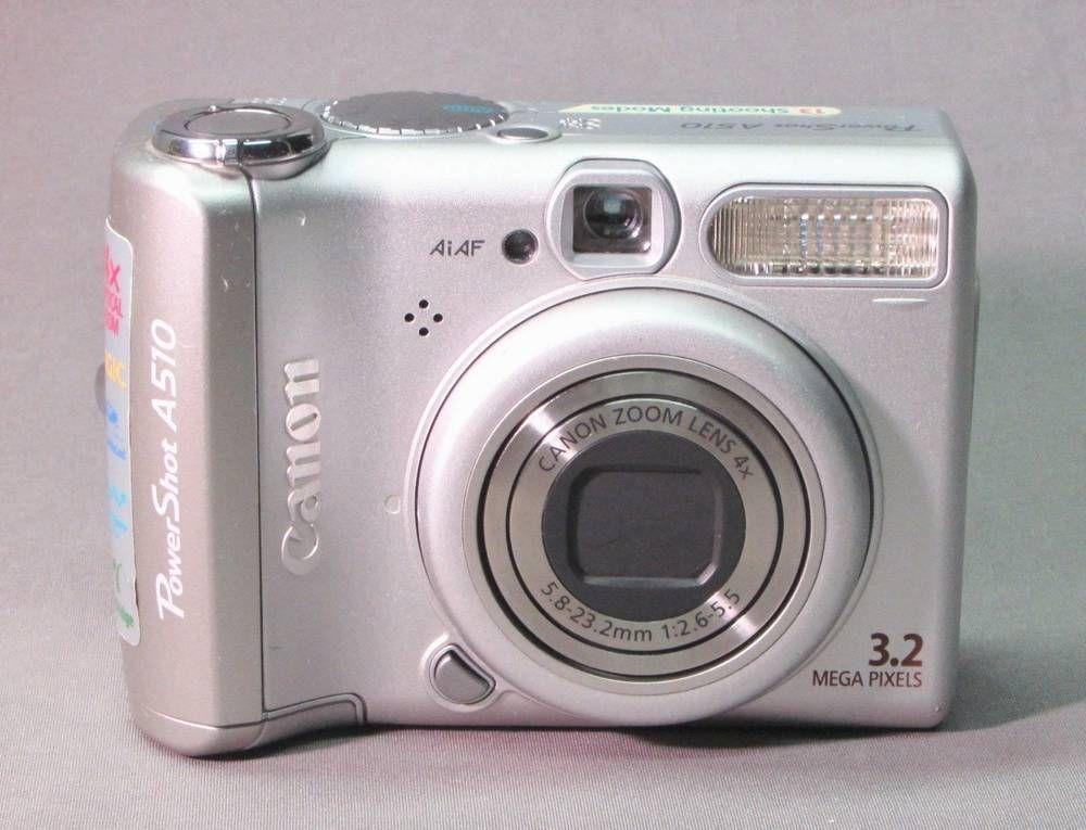 Canon Powershot Model A510 3 2 Mp Digital Camera 13 Shooting Modes Works Good Canon Canon Camera Photography Camera Digital Camera