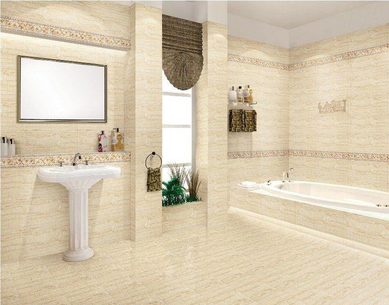salle de bain style ancien avec revêtement murs et sol simili ...