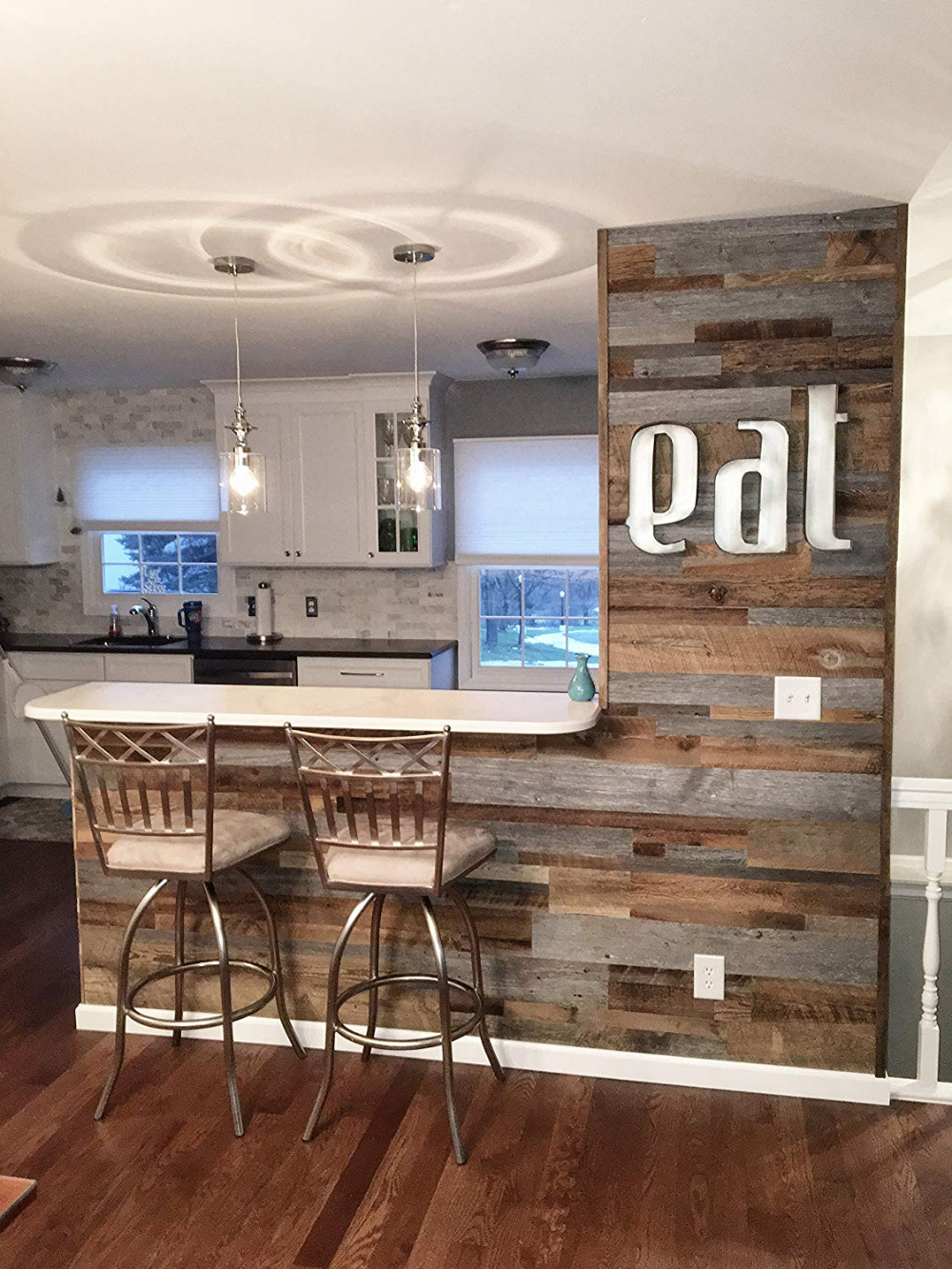 East Coast Rustic Reclaimed Barn Wood Wall Panels Easy Install Rustic Wood Diy Accent Wall In Kitchen Reclaimed Wood Accent Wall Accent Walls In Living Room