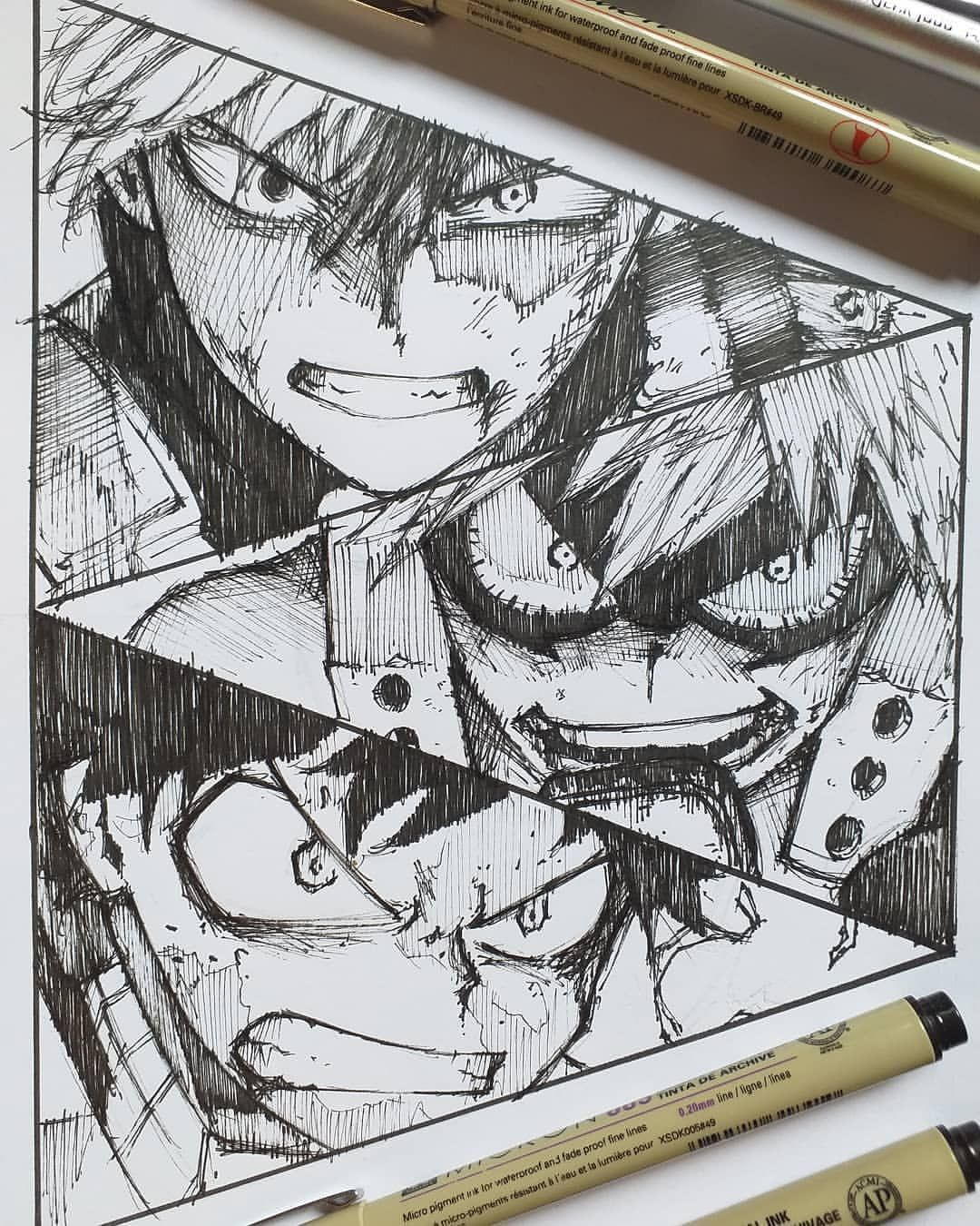"""Photo of Feature?anime art [160k+]? on Instagram: """"Todoroki, Bakugou or Midoriya? ? ?follow me @feature_abd for more drawings around the world! . ?DM(Commission/ads/promotion) . • . Artist :…"""""""
