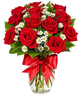 one dozen red roses delivered in glass vase with bow | Букет, Ideas