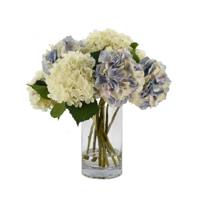 White And Purple Hydrangea In A Tall Glass Vase From The Well Appointed House In 2020 Tall Glass Vases Hydrangea Purple Glass Vase