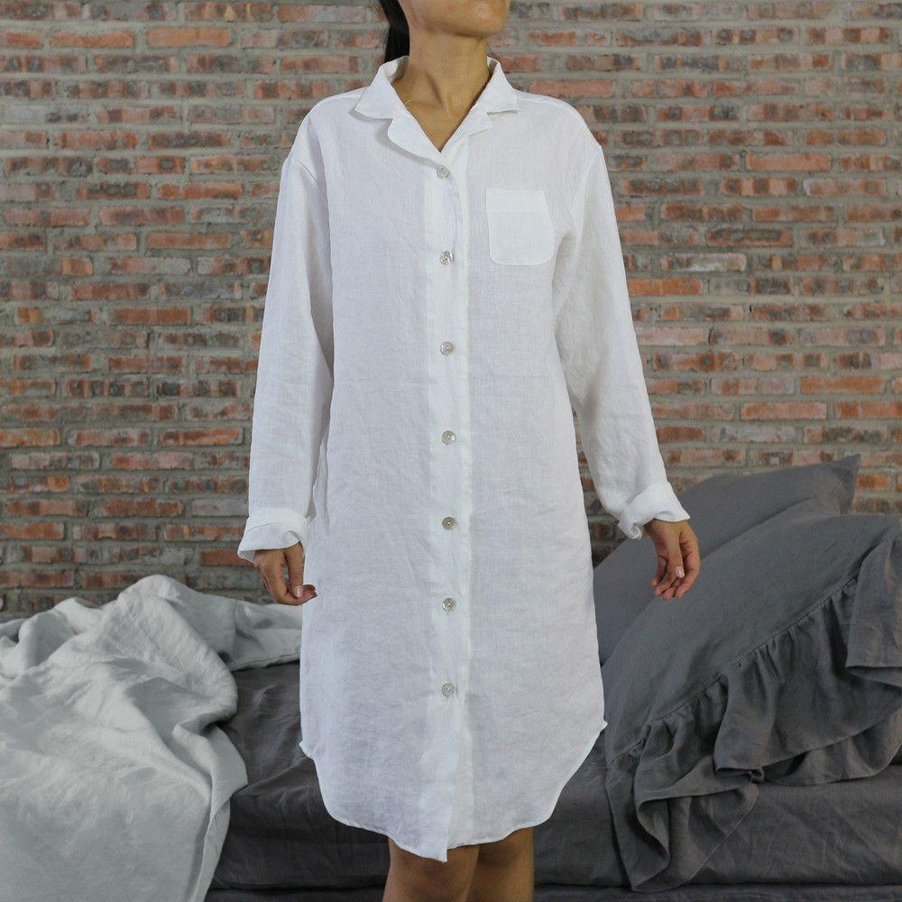 Long Night Shirt Soft Pre-Washed Linen
