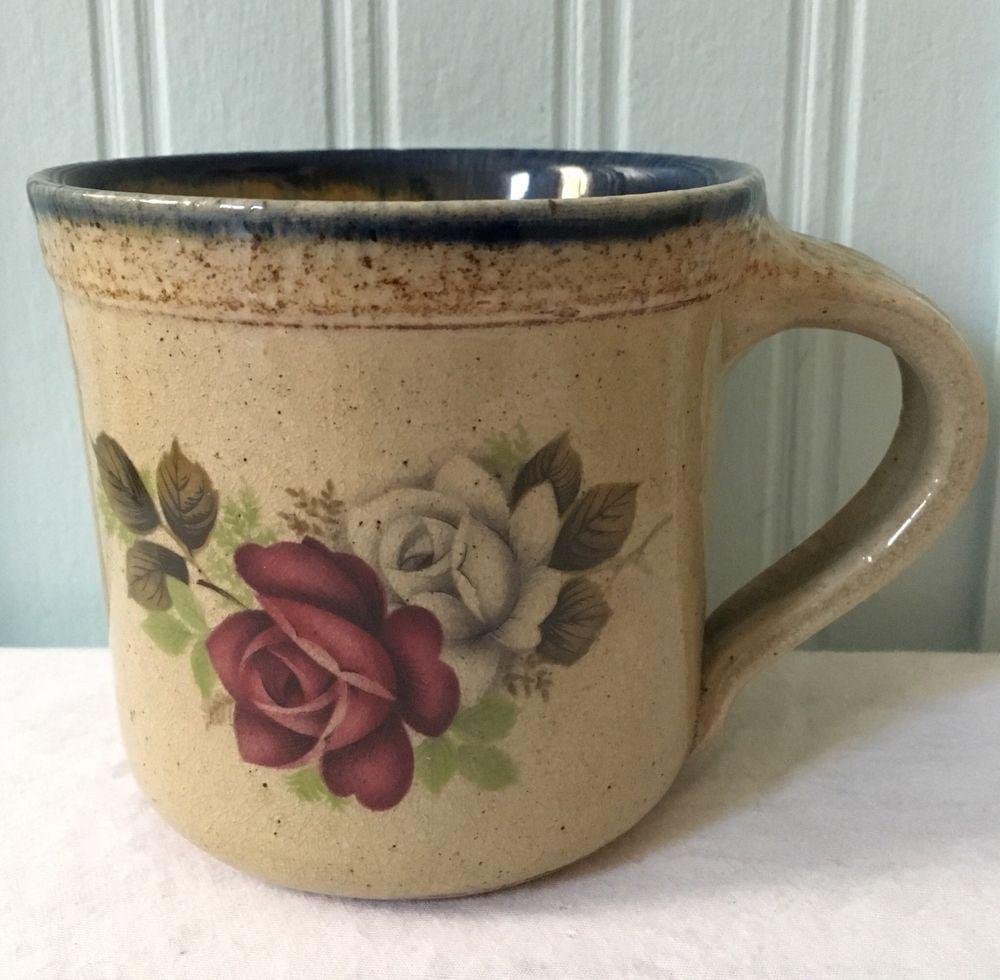 Monroe Salt Works Maine Pottery Roses Stoneware Large
