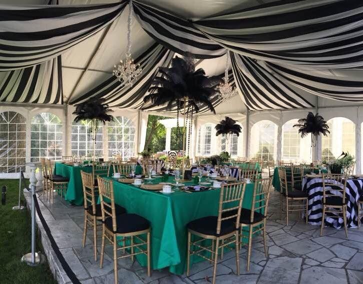 gatsby themed tent rentals by apres party 9mx9m clearspan tent with rh pinterest com