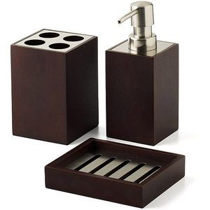 Hometrends Mabry 3 Piece Bath Accessories Set Brown | Bath ...