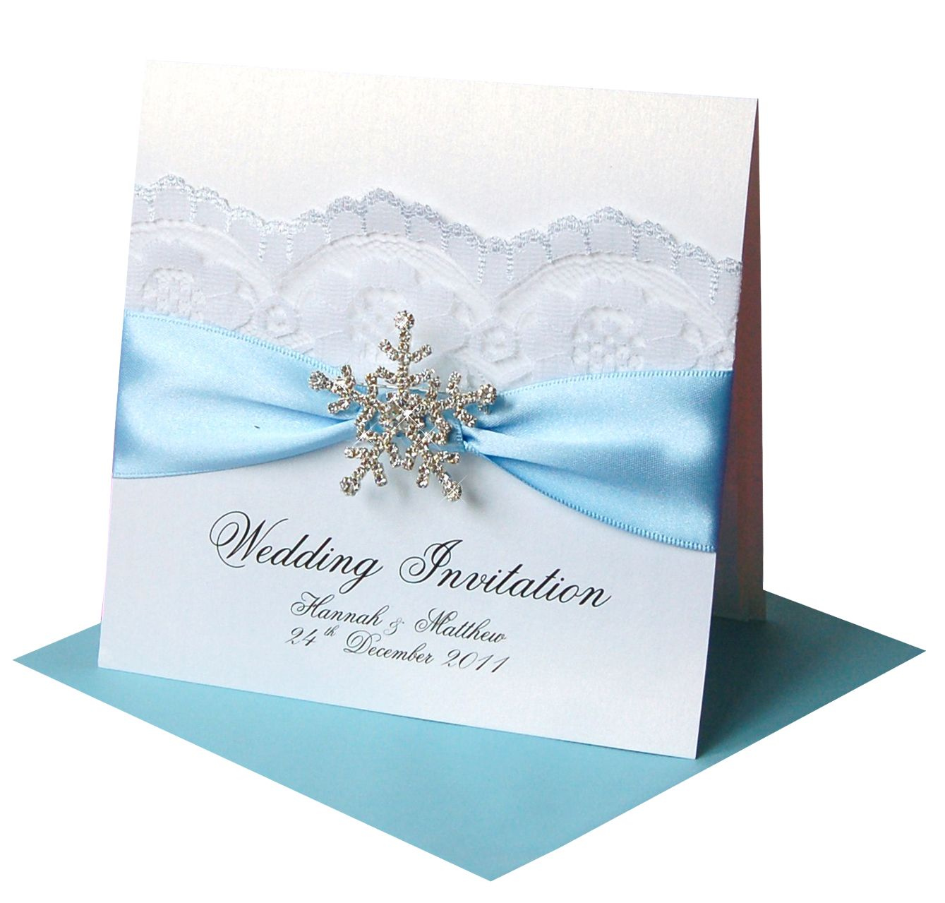 tie ribbon wedding invitation%0A Blue and White Wedding Invitation with Snowflake Brooch and Lace