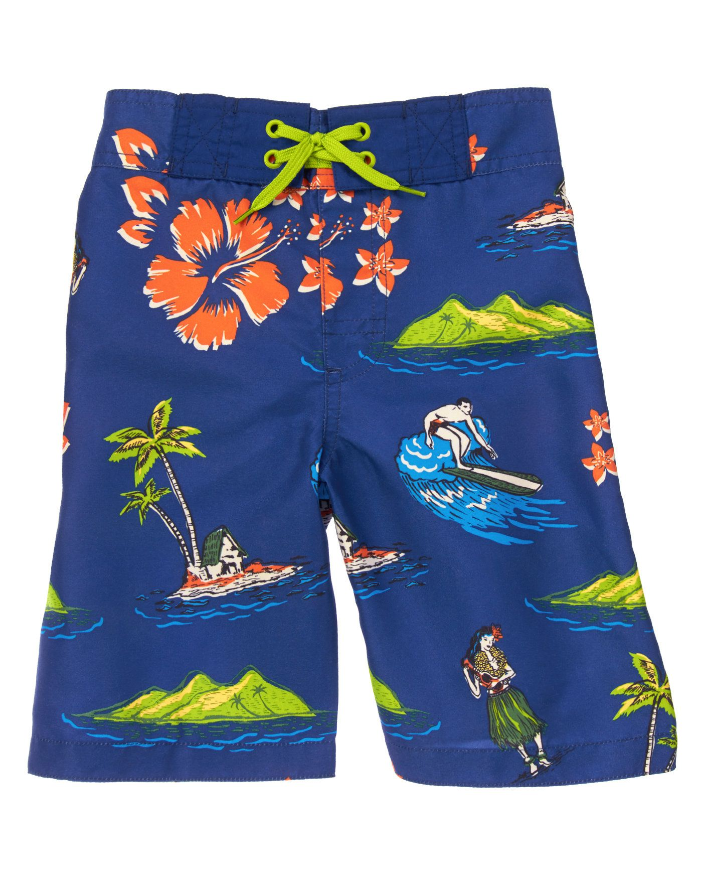 51b695f1b1 Get your little guy ready to catch a wave in our Hawaiian-themed board  shorts.