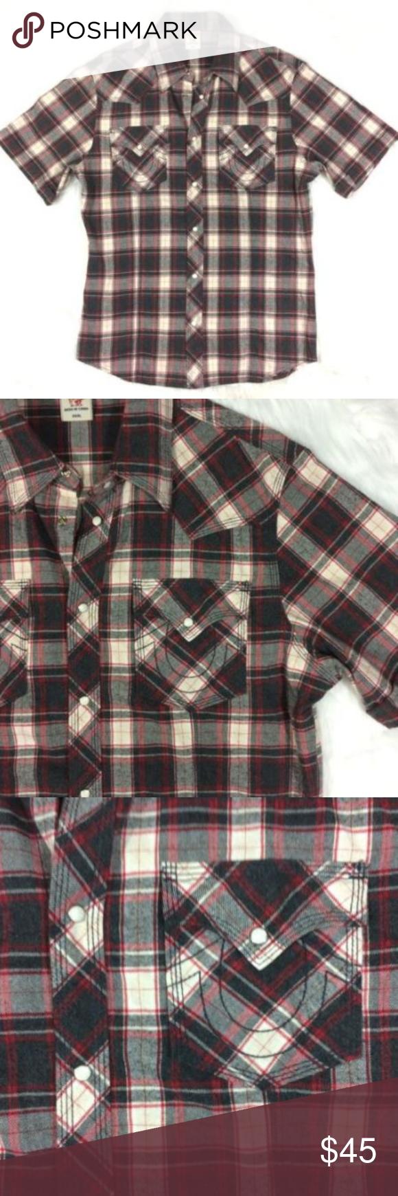 Flannel with shirt underneath  True Religion Plaid Flannel Shirt Short Sleeve  My Posh Picks