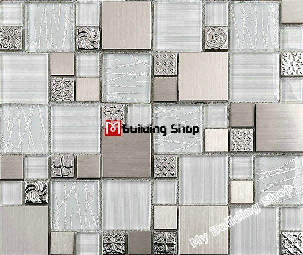 Glass Mosaic Tile Backsplash SSMT48 Silver Metal Mosaic Stainless Fascinating Modern Mosaic Tile Backsplash