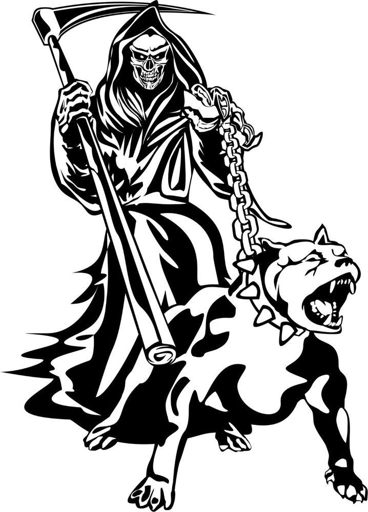 Details About Grim Reaper Dog Chain Scythe Creature