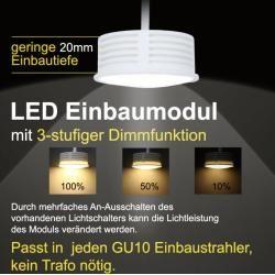 Photo of Lhg LED recessed spotlight square, brushed aluminum, triple dimmable 116360 Lhg Light