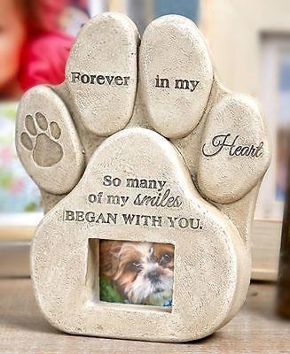 Pet memorial stone marker photo frame loss animal cat dog ...